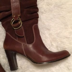 Nine West brown leather mid calf boots